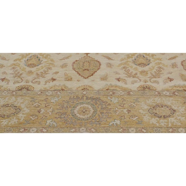 2000 - 2009 Kafkaz Peshawar Linwood Ivory & Gold Wool Rug - 9'0 X 12'1 For Sale - Image 5 of 7