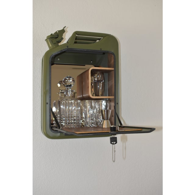 Walnut Danish Fuel Army Green Bar Cabinet For Sale - Image 7 of 10
