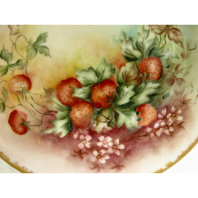Traditional Antique Bavarian Strawberry Hand Painted Gilded Bowl For Sale - Image 3 of 5