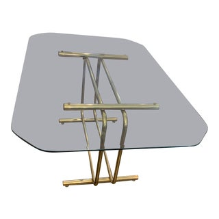 Vintage Hollywood Regency Brass + Glass Dining Table For Sale