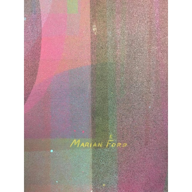 Canvas Vintage Mid-Century Abstract Geometric Painting by Marian Ford For Sale - Image 7 of 8