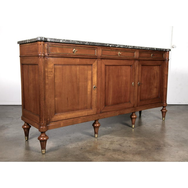 19th Century Louis XVI Walnut Enfilade with Marble Top - Image 2 of 11