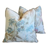 """Image of Cowtan & Tout Floral Linen Feather/Down Pillows 21"""" Square - Pair For Sale"""