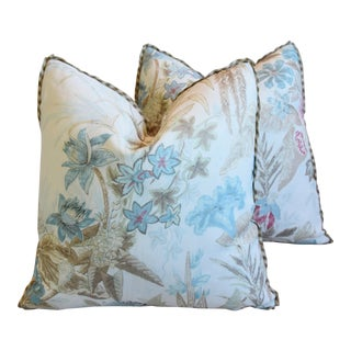 "Cowtan & Tout Floral Linen Feather/Down Pillows 21"" Square - Pair For Sale"