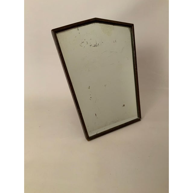 English Oak Art Deco table mirror. Five sided mirror with solid oak frame and backing. Very dark oak finish. The mirror is...