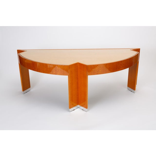 """Modern Custom Lacewood """"Mezzaluna"""" Desk by Pace Collection For Sale - Image 3 of 13"""