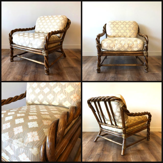 These chairs are like sculptural art. Three braided pieces of rattan are woven throughout the frame and legs. Incredibly...