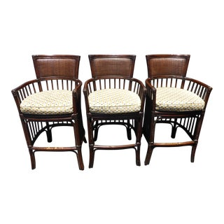 Vintage David Francis Tradewinds Tiki Palm Beach Rattan Bar Stools - Set of 3