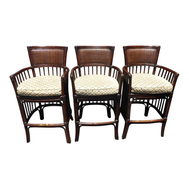 Vintage David Francis Tradewinds Tiki Palm Beach Rattan Bar Stools - Set of 3 For Sale