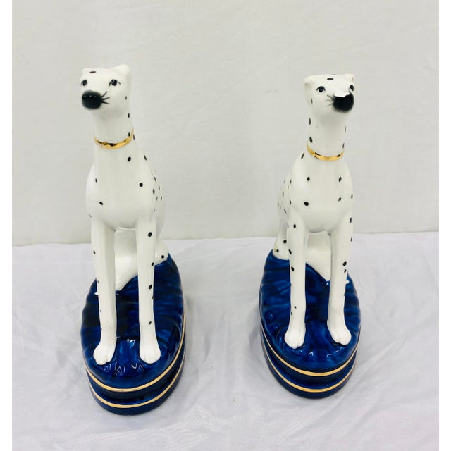 Crown Staffordshire Pair Painted Porcelain Dog Sculptures For Sale - Image 4 of 10