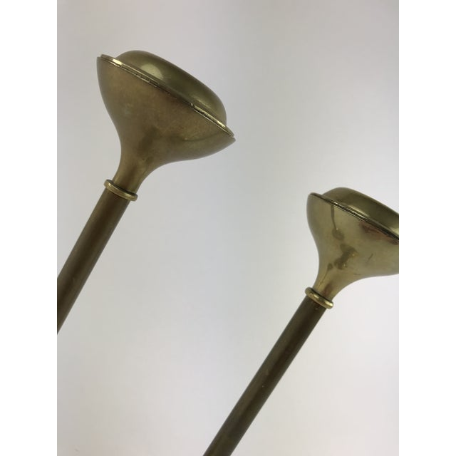 1960s Slender Brass Candlesticks - a Pair For Sale - Image 4 of 8