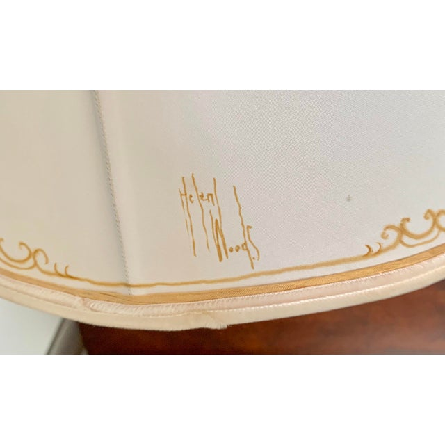 1950's Hand Made and Painted Signed Helen Woods Cream and Gilt Silk Designer Lampshade For Sale - Image 4 of 6