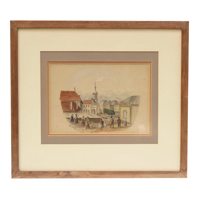 1868 Original Antique French Architectural Watercolor Painting For Sale