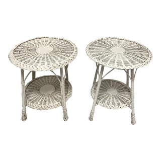 1940s Cottage White Wicker Side Tables - a Pair For Sale
