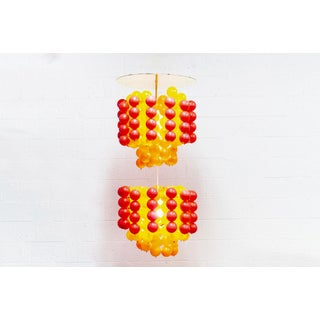 Mid Century Verner Panton Style Red Orange and Yellow Ball Chandelier Pendant Lamp Preview