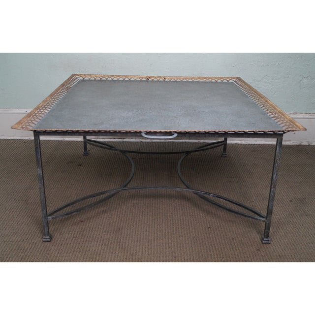 Niermann Weeks Large Regency Silver Leaf Tray Top Steel Frame Coffee Table For Sale In Philadelphia - Image 6 of 10