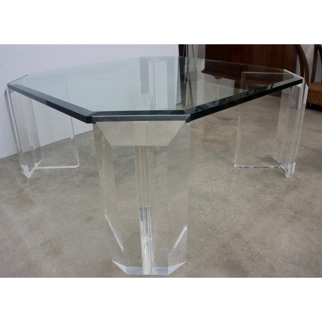 Mid-Century Modern Lucite and Glass Square Cocktail Table by Charles Hollis Jones For Sale - Image 3 of 7