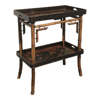 Faux Bamboo Chinese Export 2-Tiered Stand For Sale