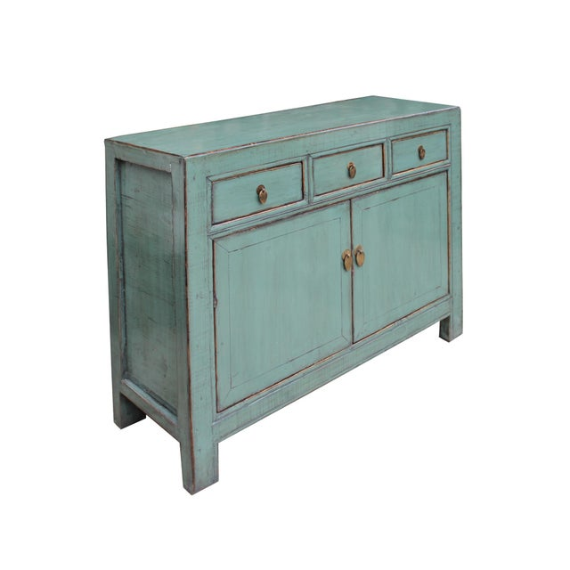 Distressed Rustic Teal Gray Credenza Sideboard Buffet Table Cabinet For Sale - Image 4 of 9