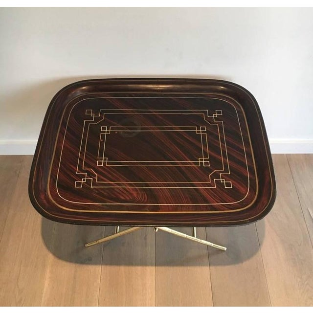 French French Brass Tray Table with a Lacquer and Gold Metal Top For Sale - Image 3 of 11