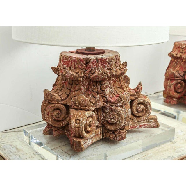 Early 19th century hand-carved capital with traces of original polychrome, mounted on Lucite base and wired as custom...