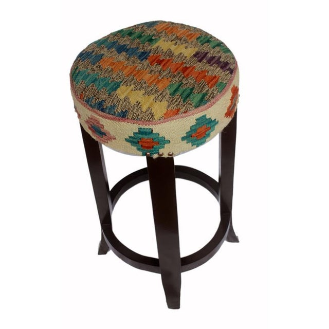 Asian Dino Brown/Ivory Kilim Uphostered Handmade Bar Stool For Sale - Image 3 of 8