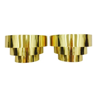 Modern Wrapped Brass Sconces - A Pair For Sale