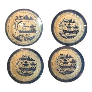 1910s Canton Blue & White Plates - Set of 4 For Sale