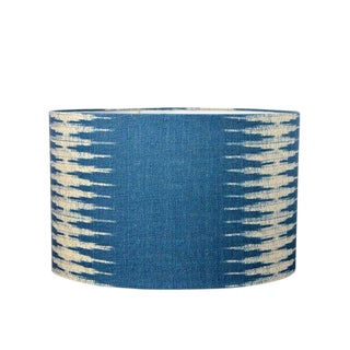 Peter Dunham Indigo Ikat Linen Drum Lampshade For Sale