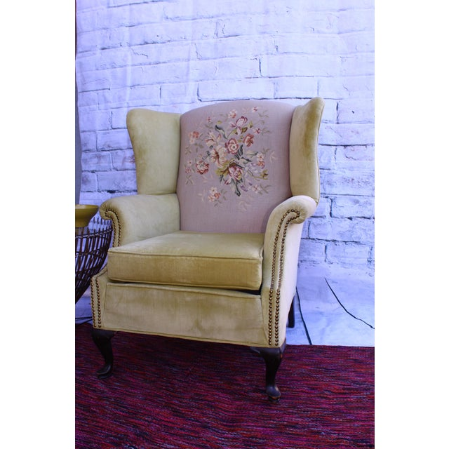 Huge Antique Velvet & Needlepoint Wingback Armchair - Image 2 of 11