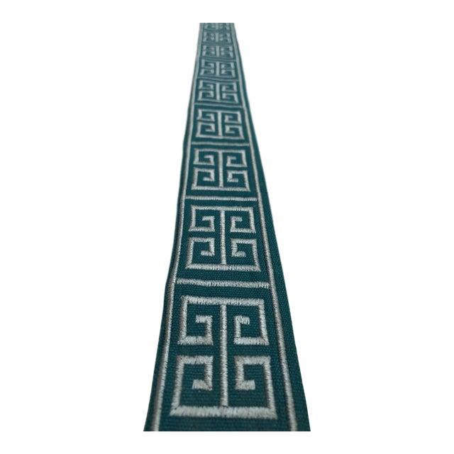 "Modern Braemore Peacock Blue Greek Key 1.75"" Band Fabric Trim - 30 Yards For Sale"