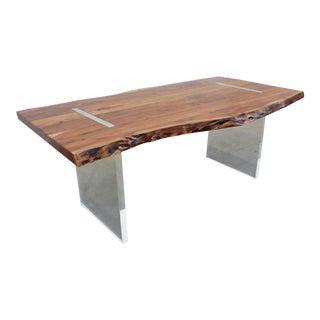 Modern Designer Studio Floating Top Dining Table/Desk Acacia Slab Wood & Lucite For Sale