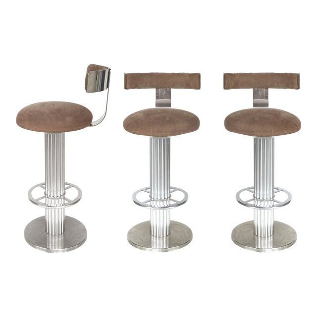 Designs for Leisure Brushed Stainless Steel Bar Stools 1980s- Set of 3 For Sale