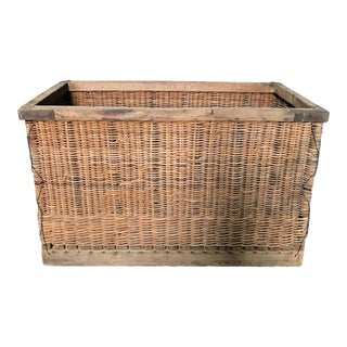 French Large Boulangerie Industrial Woven Cart Basket on Wheels For Sale