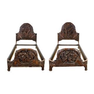 1920s Wang Sheng Qi Furniture Company Shanghai Chinese Apricot Wood Bedframes - a Pair