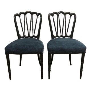 Vintage Faux Bamboo Side Chairs - a Pair For Sale