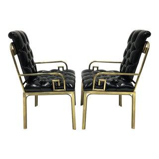 Pair Mastercraft Greek Key Design Brass Dining Chairs For Sale