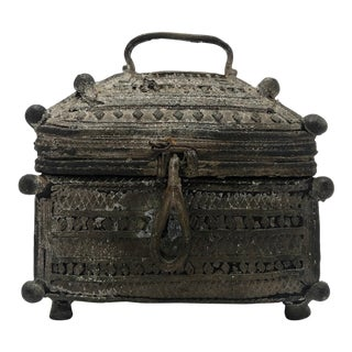 Indian Lost Wax Cast Bronze Antique Dhorka Box With Handle For Sale