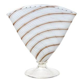 Murano Vintage White Gold Aventurine Ribbons Italian Art Glass Fan Shaped Flower Vase For Sale
