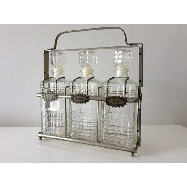 Vintage 3 Glass Decanters With Chrome Tantalus For Sale - Image 9 of 9