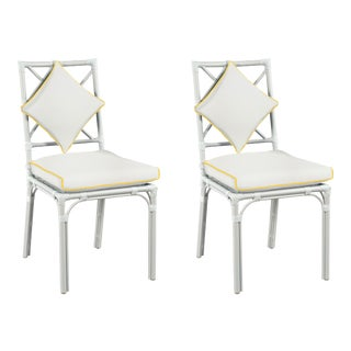 Haven Outdoor Dining Chair, Canvas White with Sunflower Yellow Welt, Pair For Sale
