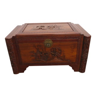 Heavy Carved Oriental Deco Chest Trunk Bench Coffee Table For Sale