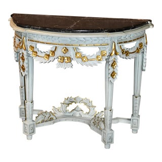 Rococo Carved Mahogany Marble Top Console Table For Sale