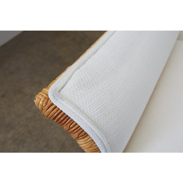 White Michael Taylor Style Rattan Wicker Sectional Sofa For Sale - Image 8 of 13