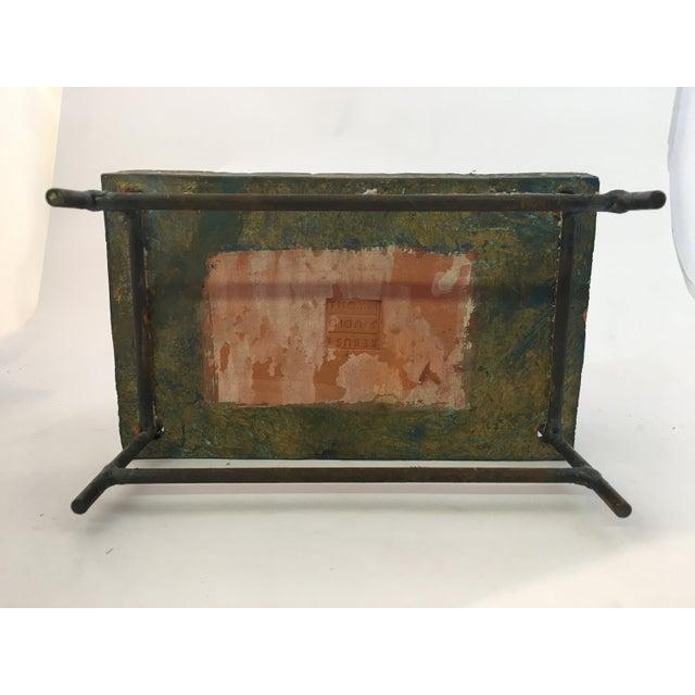 Thoym Rebusi Studio Tom McCanna Gilt Terracotta Dimetrodon Candleholder For Sale - Image 10 of 11