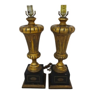 Vintage Gilded Wood Lamps - A Pair For Sale