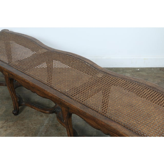 Italian Style Carved Wood Cane Seat Bench - Image 10 of 10