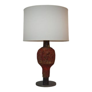 Antique French Wooden Game Piece Table Lamp For Sale