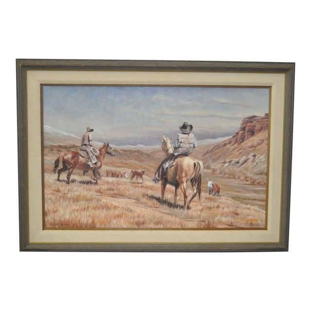 Burt Dinius Oil Painting - Fall Round Up C.1982 For Sale