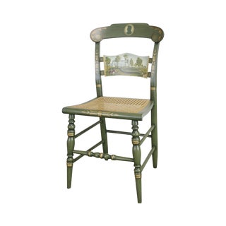 "Hitchcock Green Painted ""Andrew Jackson's Hermitage"" Cane Seat Side Chair (B) For Sale"
